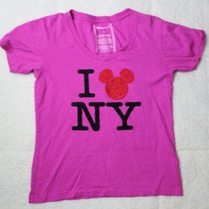 "Disney ""I  Mickey(Love) NY"" Pink T-Shirt Medium"